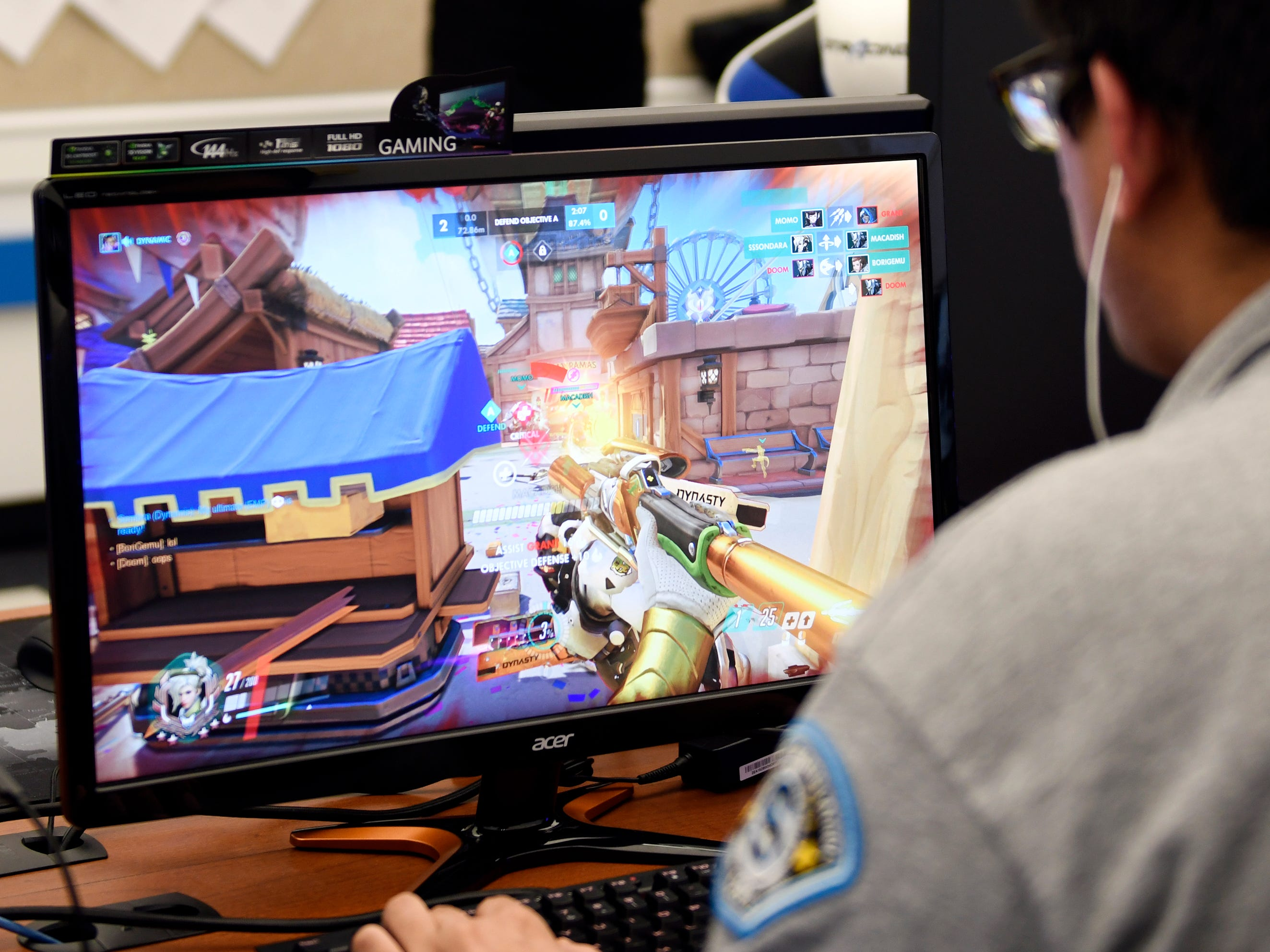 Stockton students refine their gaming skills in the university's new Esports facility on Tuesday, Feb. 26, 2019.