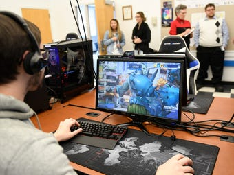 Jacob Hoppenfeld, a Stockton student from Voorhees, N.J., talks about his school's new Esports facility which includes state-of-the-art machines designed for competitive teams to play Fortnite, Overwatch, League of Legends and more.