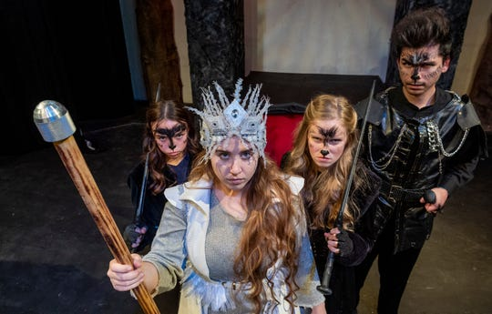 """Chalie Elston, left, Lauren Ventura, Berri Gilbert and Alex Quezada rehearse for Enchanted Playhouse's production of """"The Lion, The Witch and the Wardrobe"""" on Friday, February 22, 2019."""