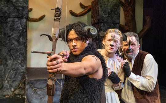 """Chris Lopez, left, Hope Daniel and Russ Roberson rehearse for Enchanted Playhouse's production of """"The Lion, The Witch and the Wardrobe"""" on Friday, February 22, 2019."""