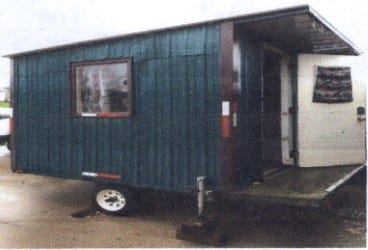 Marathon County Crime Stoppers is asking for your help to find the person(s) who stole this green 10-by-12 foot steel ice shack from the Eau Pleine Reservoir, in the town of Green Valley.