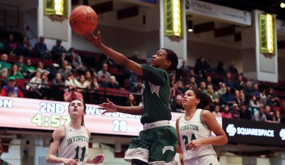Irvington defeated Woodlands 55-52 in the Class C girls basketball semifinal at the Westchester County Center in White Plains  Feb. 25,  2019.