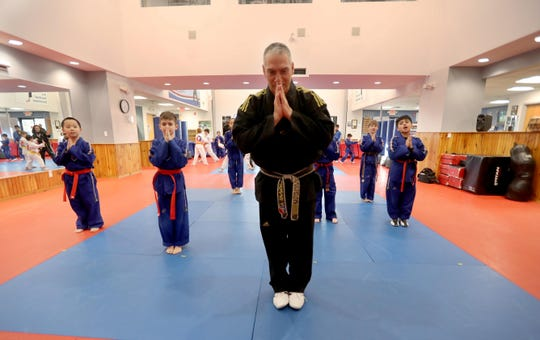 Master Chris Berlow, owner of United Martial Arts Center, teaches a taekwondo class at the school's Briarcliff Manor location Feb. 25, 2019.