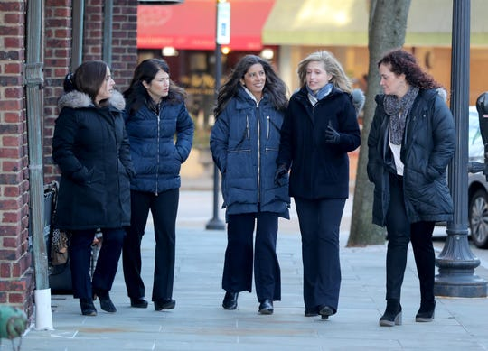 Tracy Jaffe, left, Chief Operating Officer for The Acceleration Project, Laurie Medvinsky, a consultant for the project, Claudia Uribe, Director of Service Delivery, Jane Vernon, Chief Operating Officer, and Wendy Gendel, a consultant, in downtown Scarsdale on Feb. 26, 2019.