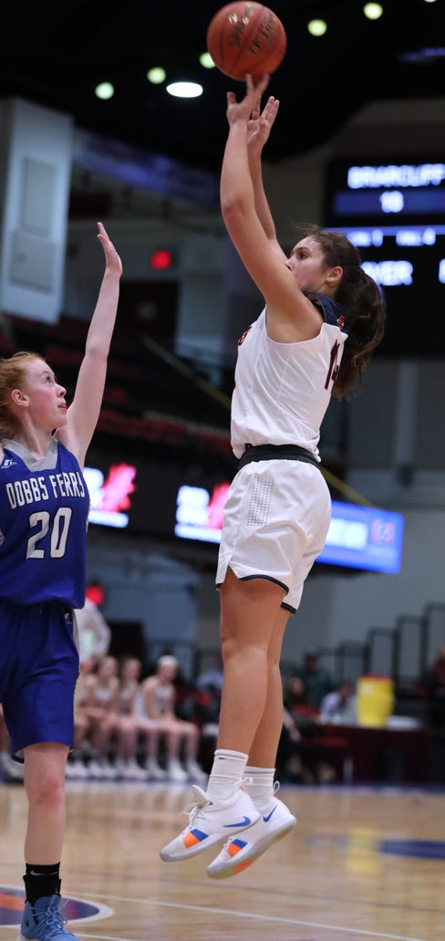 Briarcliff's Maddie Plank shoots over Dobbs Ferry's Camryn McCarthy during a Section 1 Class B semifinal at the Westchester County Center Feb. 25, 2019. Briarcliff won 58-54.