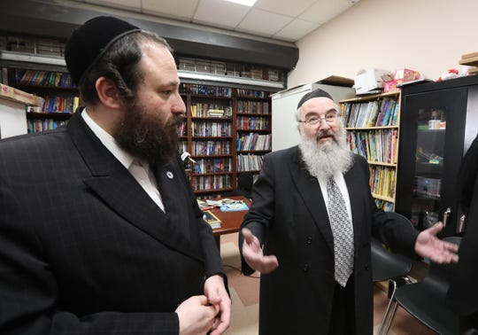 Rockland County Legislator Aron Wieder, left, and the school's principal, Rabbi Moshe Schwab. speak about issue of public and private school equivalency at Yeshiva Degel Hatorah in Spring Valley Feb. 26, 2019.