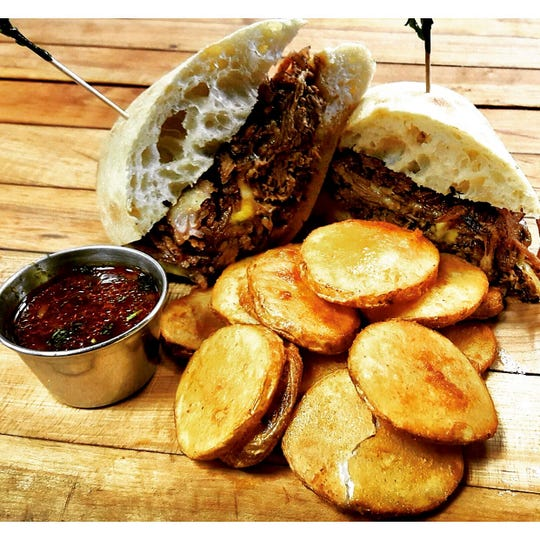 The Roadhouse at the soon-to-be-opened Hudson's Mill in Garnerville (pulled brisket braised in Industrial Arts beer with local vegetables and Cheddar Jack cheese on Ciabatta bread).