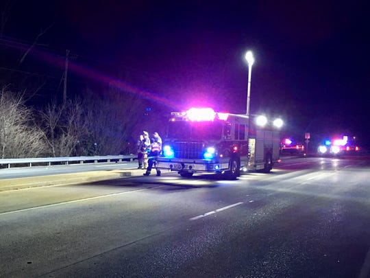 First responders work at the scene where a man was found hit by a vehicle on U.S. 13 south in Wilmington on Tuesday.