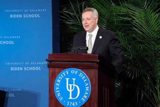University of Delaware president Dennis Assanis speaks before introducing former vice president Joe Biden.