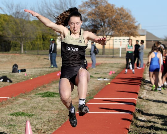 Rider's Libby Featherston competes in the long jump in the Iowa Park Relays Monday, Feb. 25, 2019, at Hawk Stadium in Iowa Park.