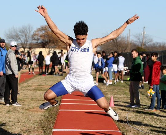 City View's Jayln Marks competes in the triple jump in the Iowa Park Relays Monday, Feb. 25, 2019, at Hawk Stadium in Iowa Park.