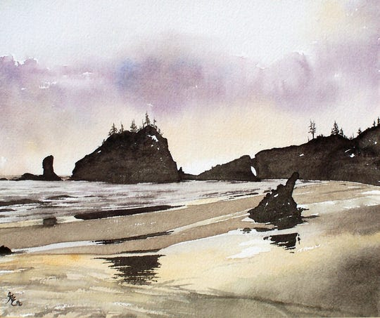 A landscape from Nocona-based watercolor artist Gale Cochran-Smith who will open her first solo art show today at the Galleria at the Forum and the 20 piece exhibit will run through May 11.