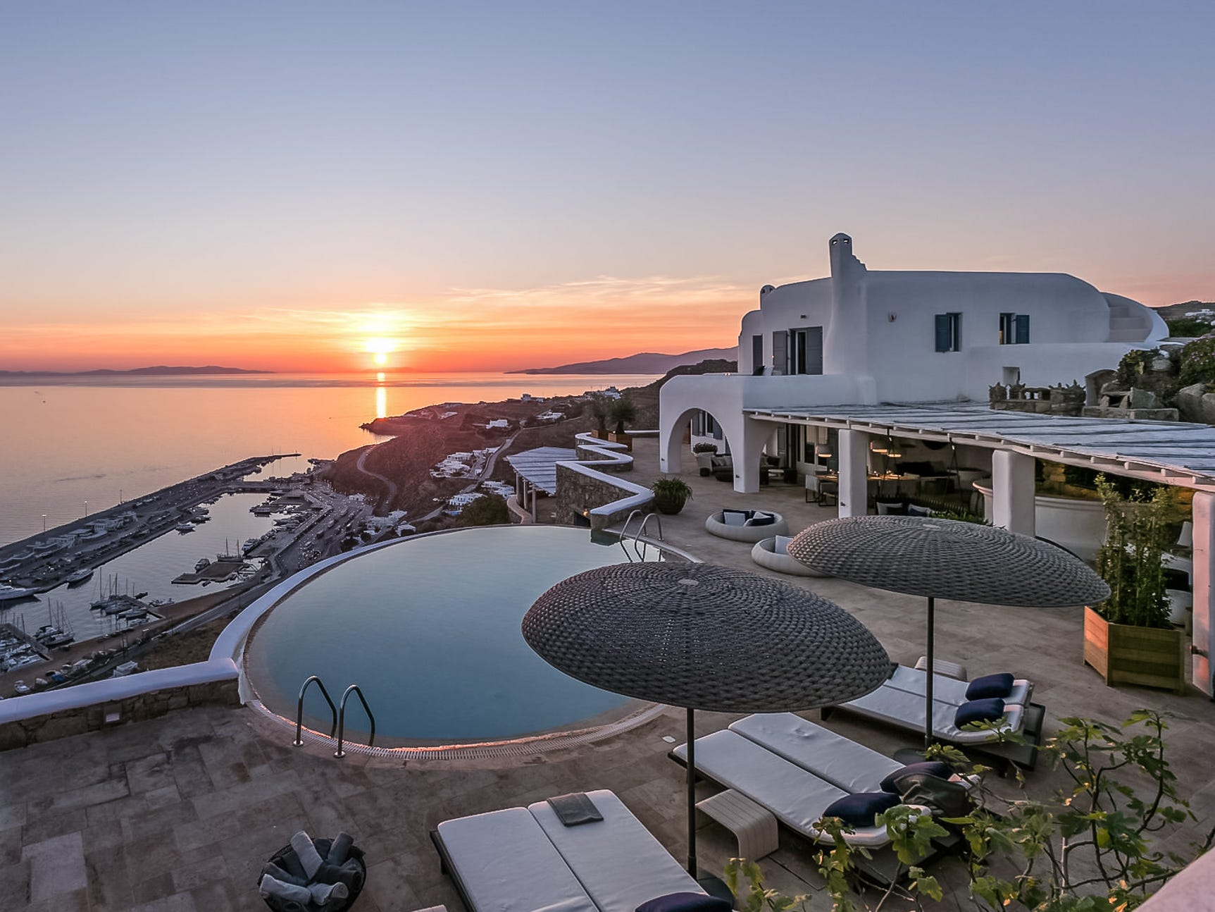 This seven-bedroom property in Mykonos, Greece, sleeps 14 and rents for $7,008 - $14,945 a night.