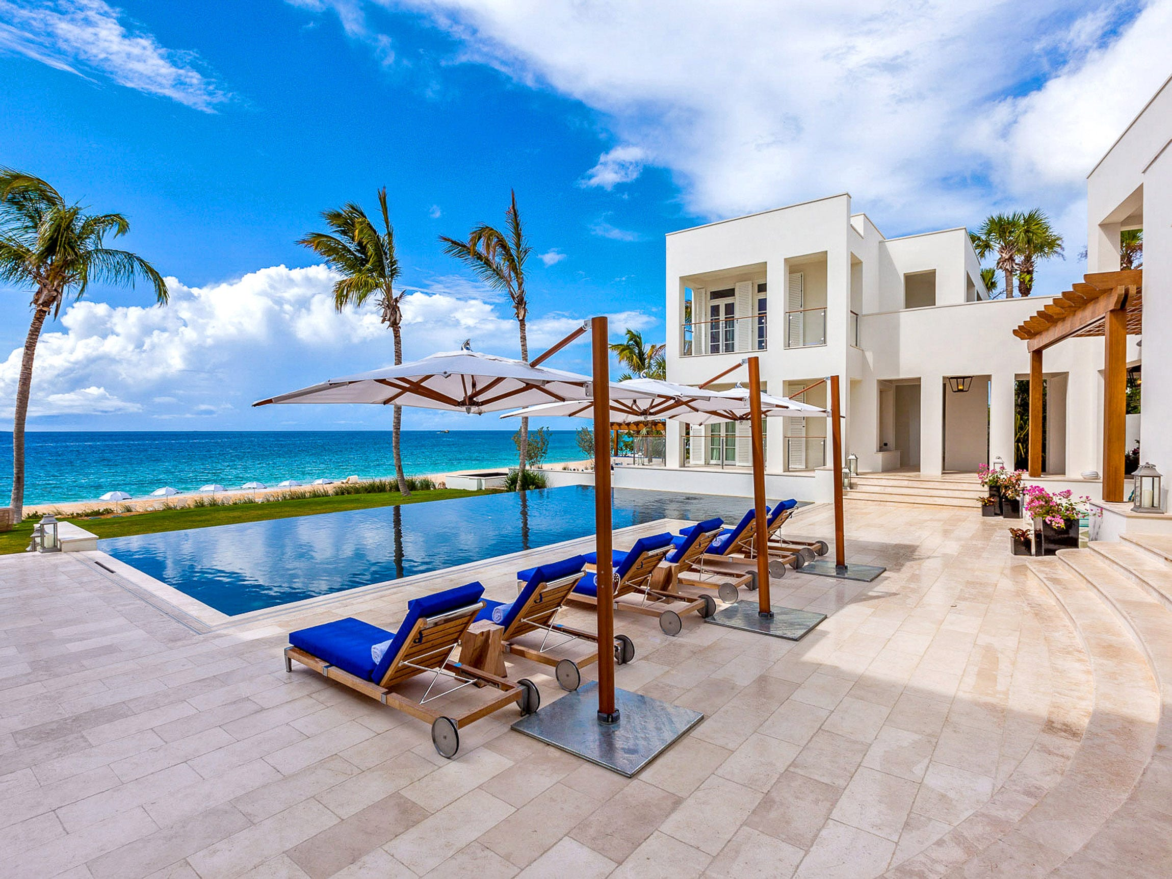 This nine-bedroom property on Barnes Bay in Anguilla sleeps 18 and rents for $14,286 - $30,000 a night.