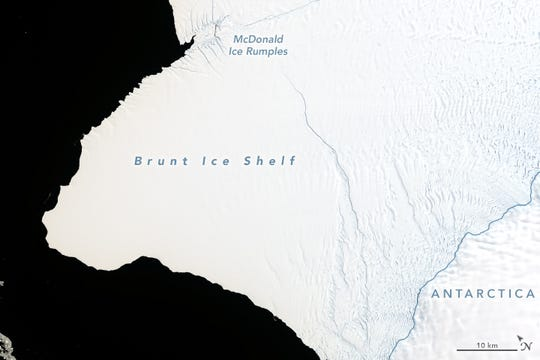 This image shows a growing cracking moving north on the Brunt Ice Shelf in Antarctica.
