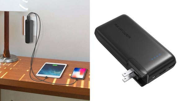 This portable charger can plug into the wall for twice the charging options in one.