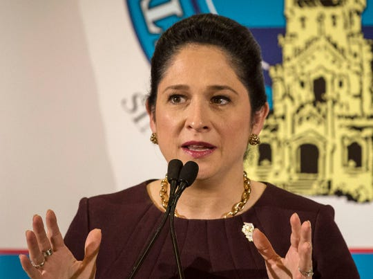 In this March 20, 2017 file photo, Illinois State Comptroller Susana Mendoza speaks to the City Club of Chicago in Chicago.