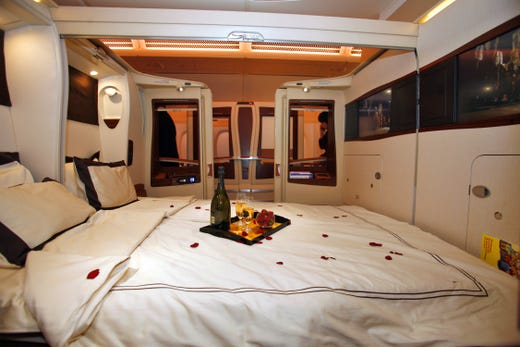 TOULOUSE, FRANCE - OCTOBER 15:  A general view of inside the first class twin cabin section of the new Singapre Airlines Airbus A380 on October 15, 2007 in Toulouse, France. The first A380, the world's biggest passenger jet, is set to enter commercial service when delivered to Singapore Airlines' fleet, following a troubled production and an 18 month delay. (Photo by Pascal Parrot/Getty Images) (Via MerlinFTP Drop)