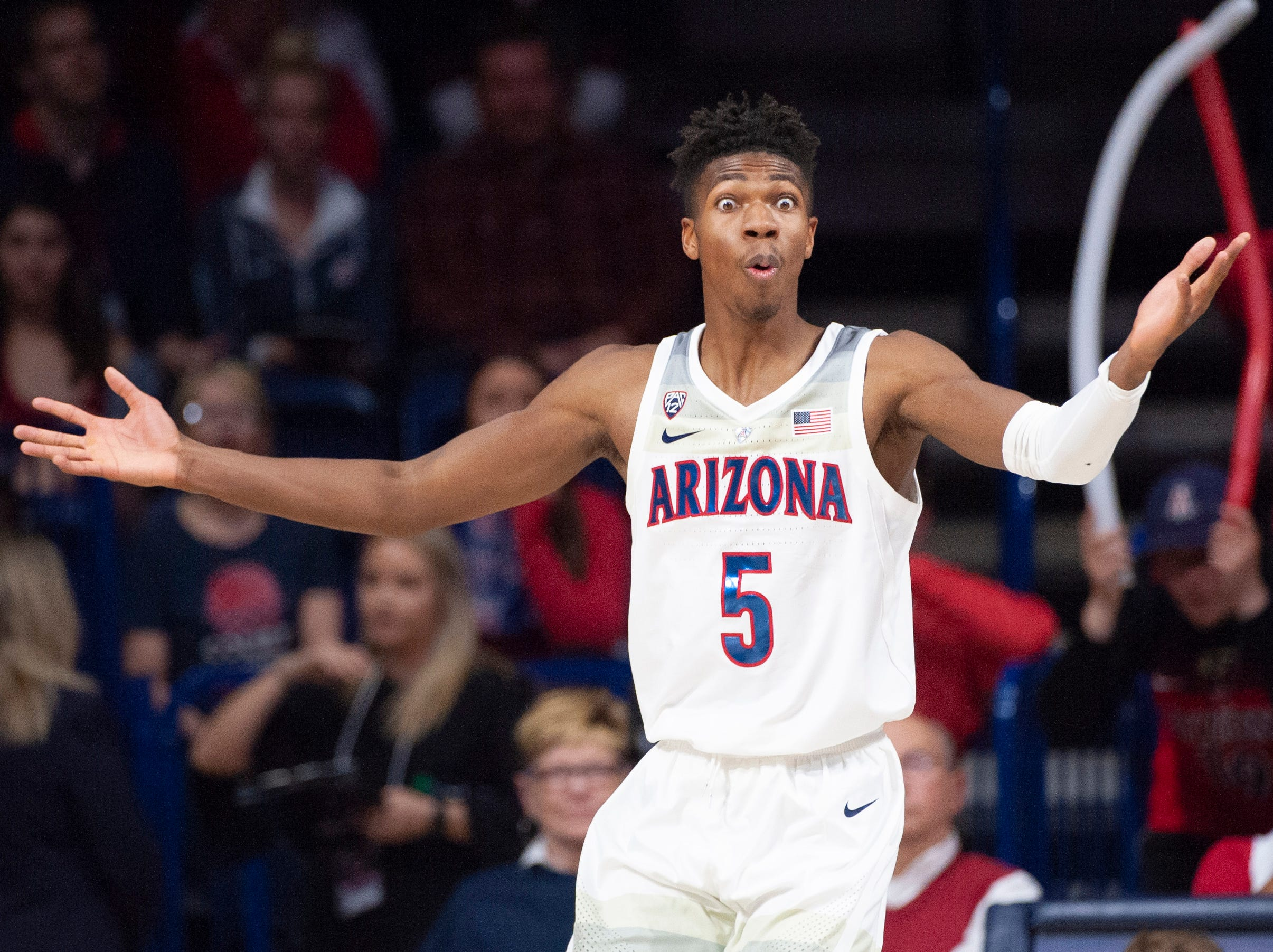 Feb. 24: Arizona Wildcats guard Brandon Randolph reacts to a call during the second half against the Stanford Cardinal at McKale Center.