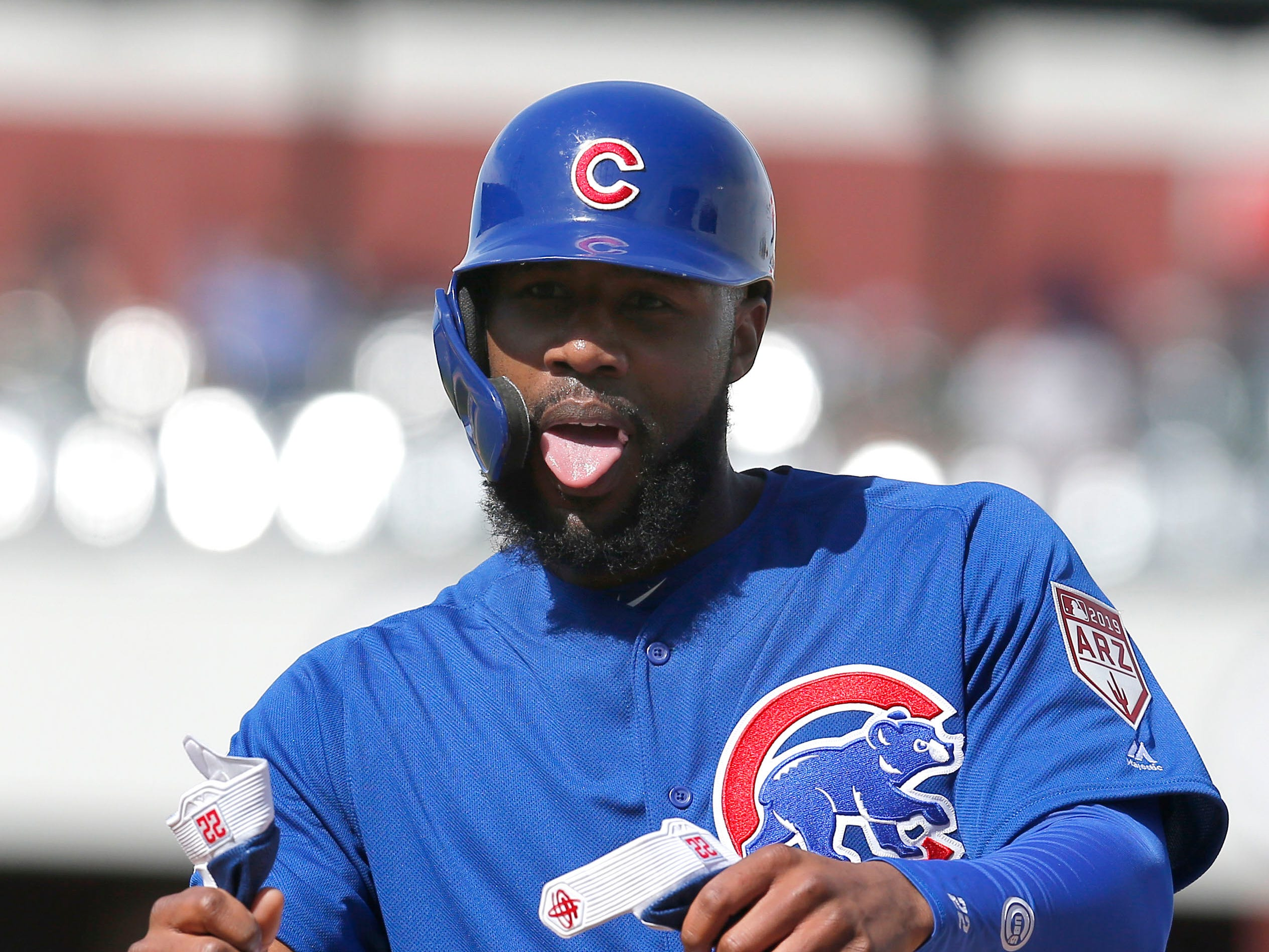 Feb. 25: Cubs right fielder Jason Heyward reacts after running back to first base on a fly ball out.