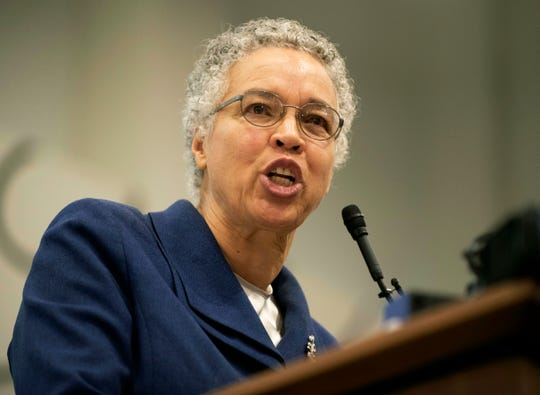 In this Dec. 9. 2018 file photo, Cook County Board President Toni Preckwinkle speaks during a news conference at the Chicago Teachers Union headquarters in Chicago.