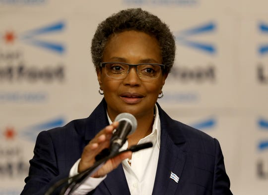 In this May 9, 2018 file photo, former Chicago Police Board President Lori Lightfoot announces her bid for mayor of Chicago at the Hyatt Regency Chicago.
