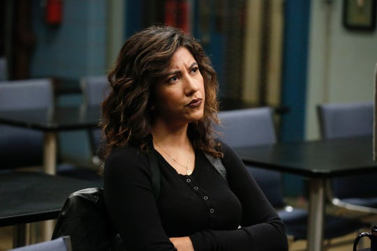 "Stephanie Beatriz, seen here as Detective Rosa Diaz of ""Brooklyn Nine-Nine,"" directs Thursday's episode of the NBC comedy, which features an investigation of workplace sexual misconduct. (Photo: Vivian Zink, NBC)"
