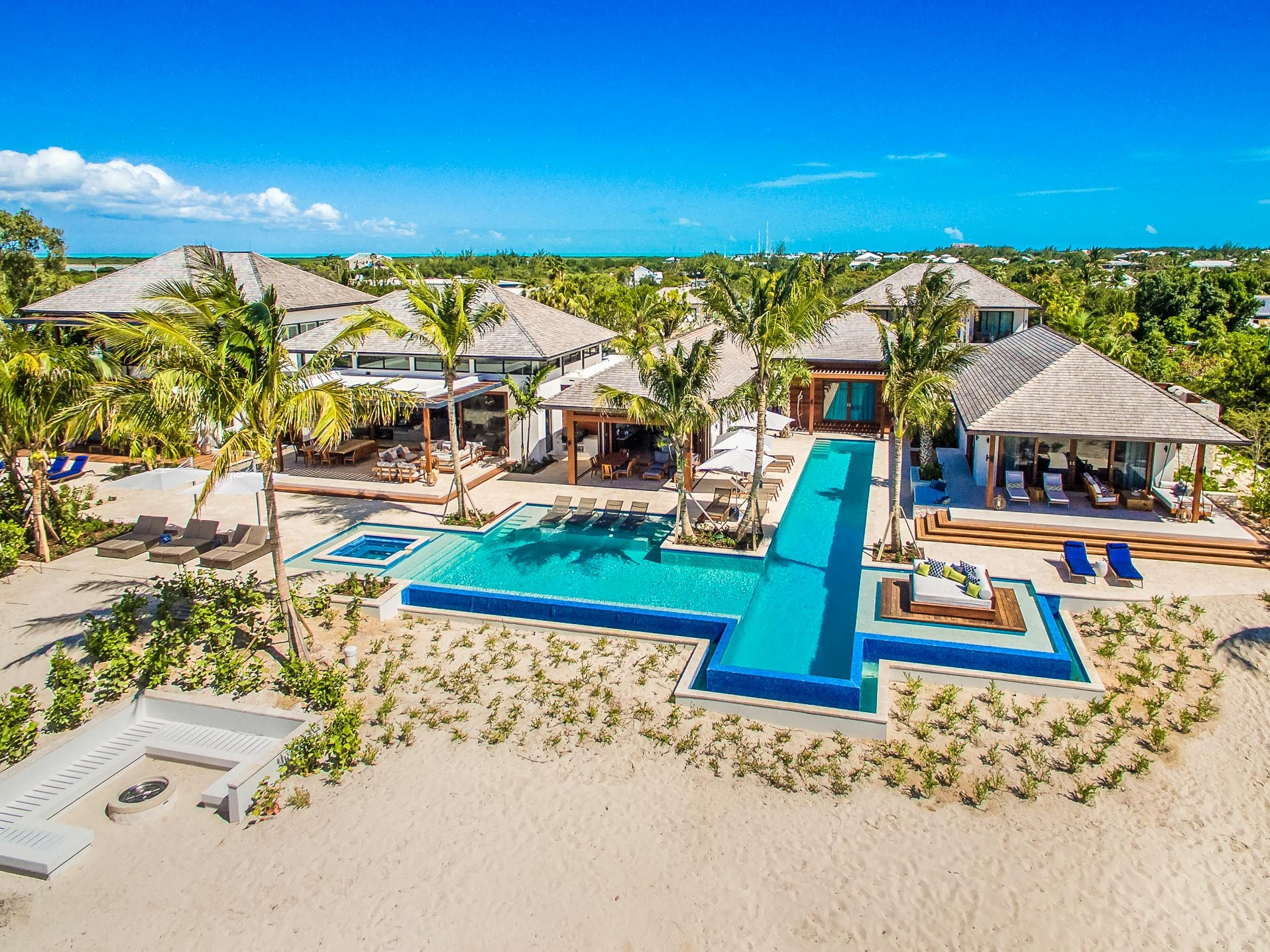 This 10-bedroom property on Grace Bay in Turks and Caicos sleeps 20 and rents for $12,400 - $36,800 a night.