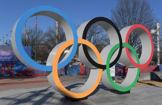 The 1996 Olympic rings at Centennial Olympic Park in Atlanta.