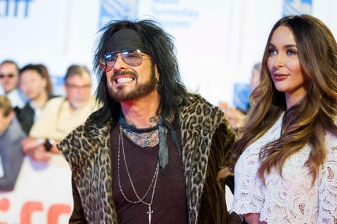 Nikki Sixx and his wife, Courtney, pictured in 2017.