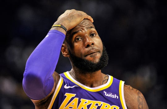 b5c7f6e6ee1f Los Angeles Lakers forward LeBron James reacts during a game against the  Memphis Grizzlies.