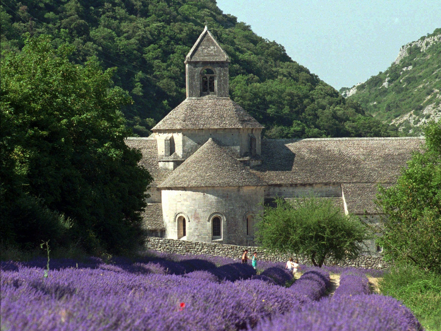 ADV. FOR WED. AMS, AUG. 7--People walk past a lavender field in front of the Abbey of Senanque, outside of Avignon, in the Provence region of southern France July 17, 1996. The heady fragrance of fresh-crushed lavender and endless vistas of sunparched wilderness have made this region one of the world's most popular tourist destinations. (AP Photo/Patrick Gardin) ORG XMIT: NY325
