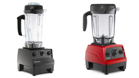 The Vitamix 5200 (pictured left) and the Explorian (pictured left) are both fantastic for making smoothies, soups, salsas, and more.