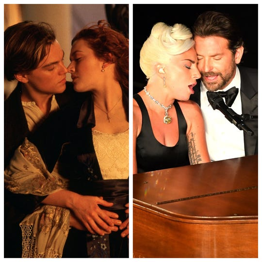 """Leonardo DiCaprio and Kate Winslet on the """"Titanic"""" have to make room in romance immortality for Lady Gaga and Bradley Cooper after Oscar night."""