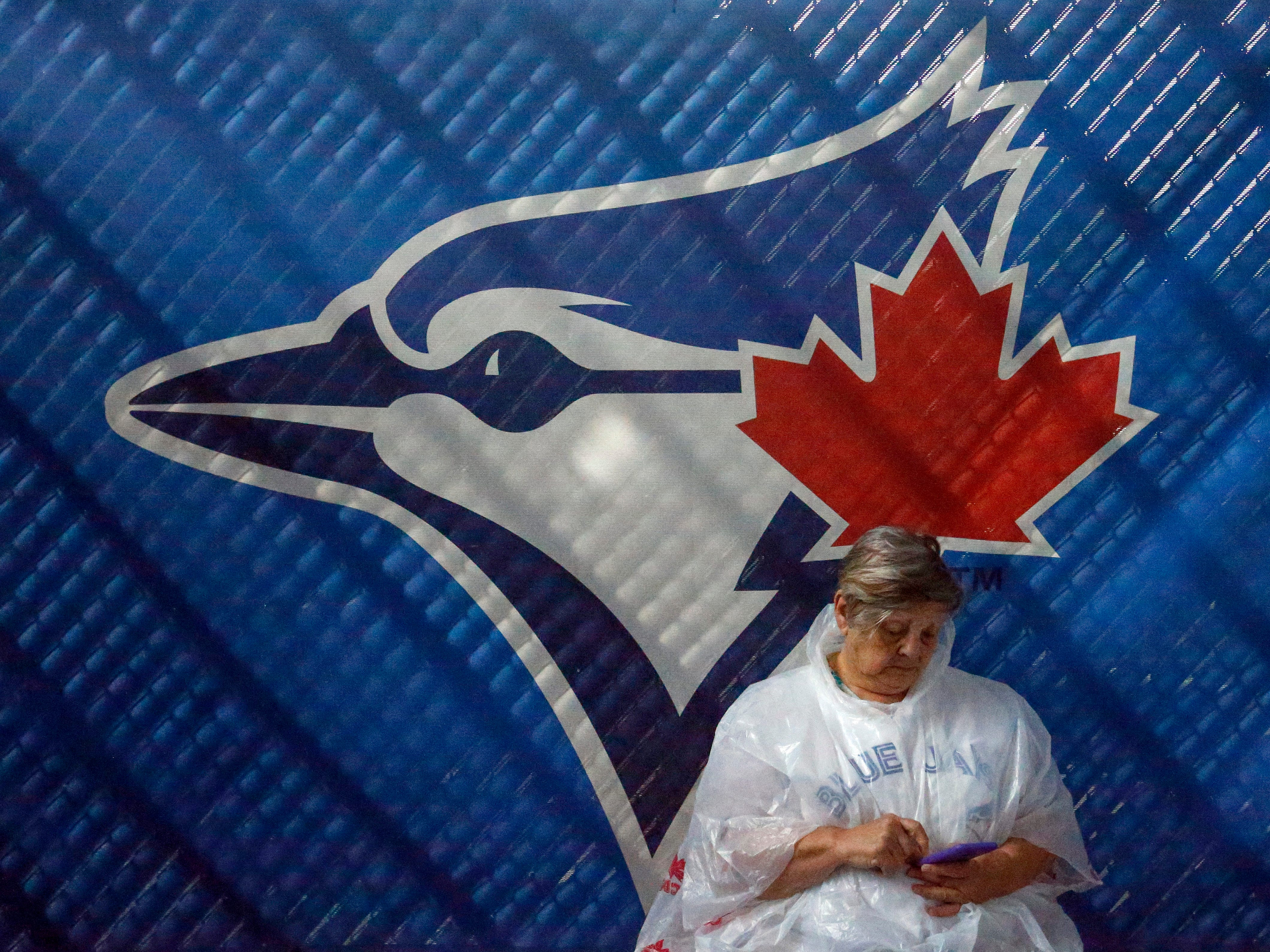 Feb. 26: Veronica Solomon, of Alberta, checks her phone while it rains. The Blue Jays game against the Red Sox was cancelled.