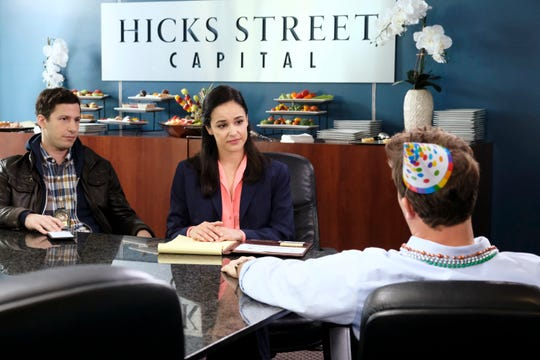 'Brooklyn Nine-Nine' officers Jake (Andy Samberg), left, and Amy (Melissa Fumero) investigate a workplace sexual assault in Thursday's 'He Said, She Said' episode. (Photo: Trae Patton. NBC)