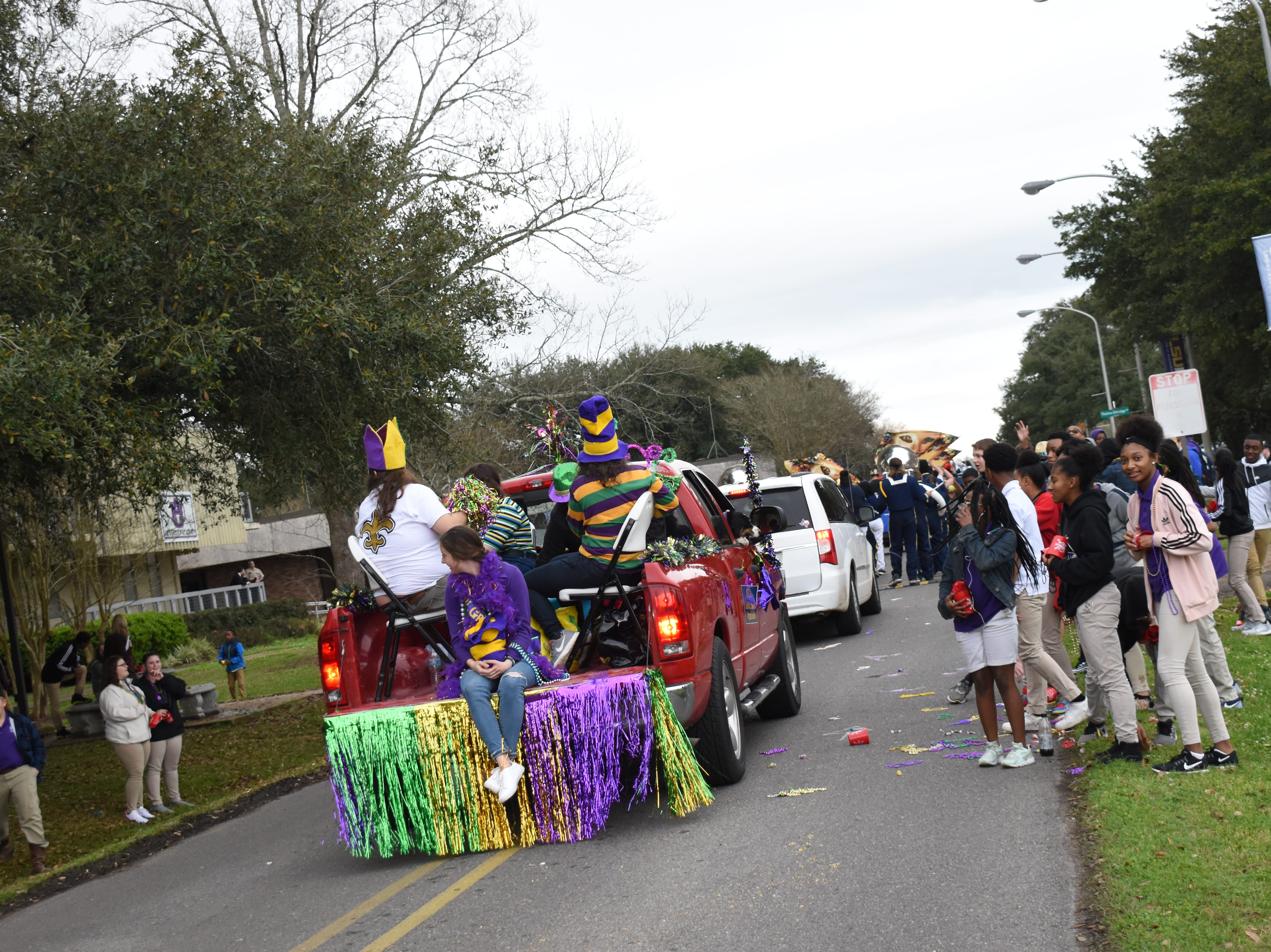 The annual LSUA Mardi Gras parade was held Wednesday, Feb. 27, 2019 on the campus. Campus organizations paraded through the campus tossing throws to people lining the route. The Bunkie High School band and the Avoyelles High School band also performed.