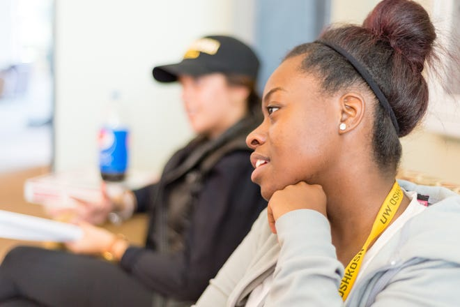 TAP student Valencia Tolefree listens in class in 2016.