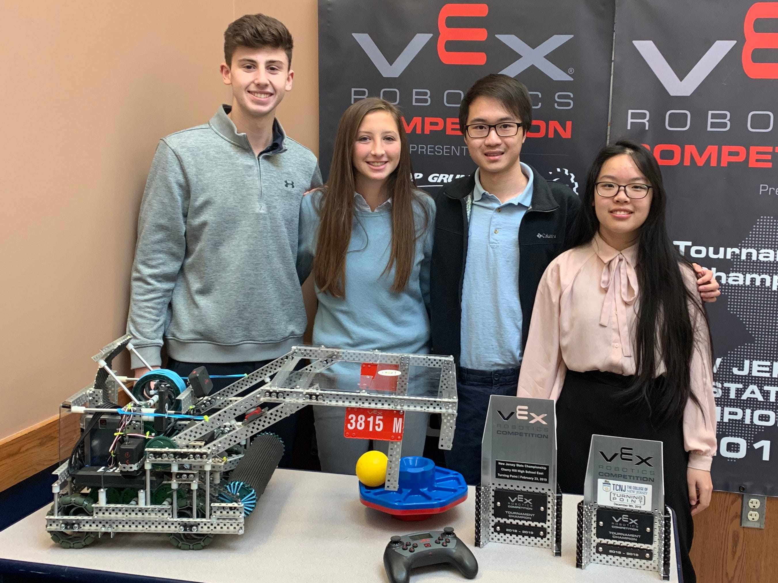 The Ranney Upper School Robotics Team won the New Jersey robotics state championship at Cherry Hill High School East on Saturday, Feb. 23.  Pictured are Alex Klatsky, Sandy Wilderotter, Kevin Yu and Emerald Liu.