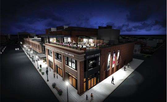 A artistic rendering of the expanded Count Basie Center for the Arts on Monmouth Street in Red Bank.