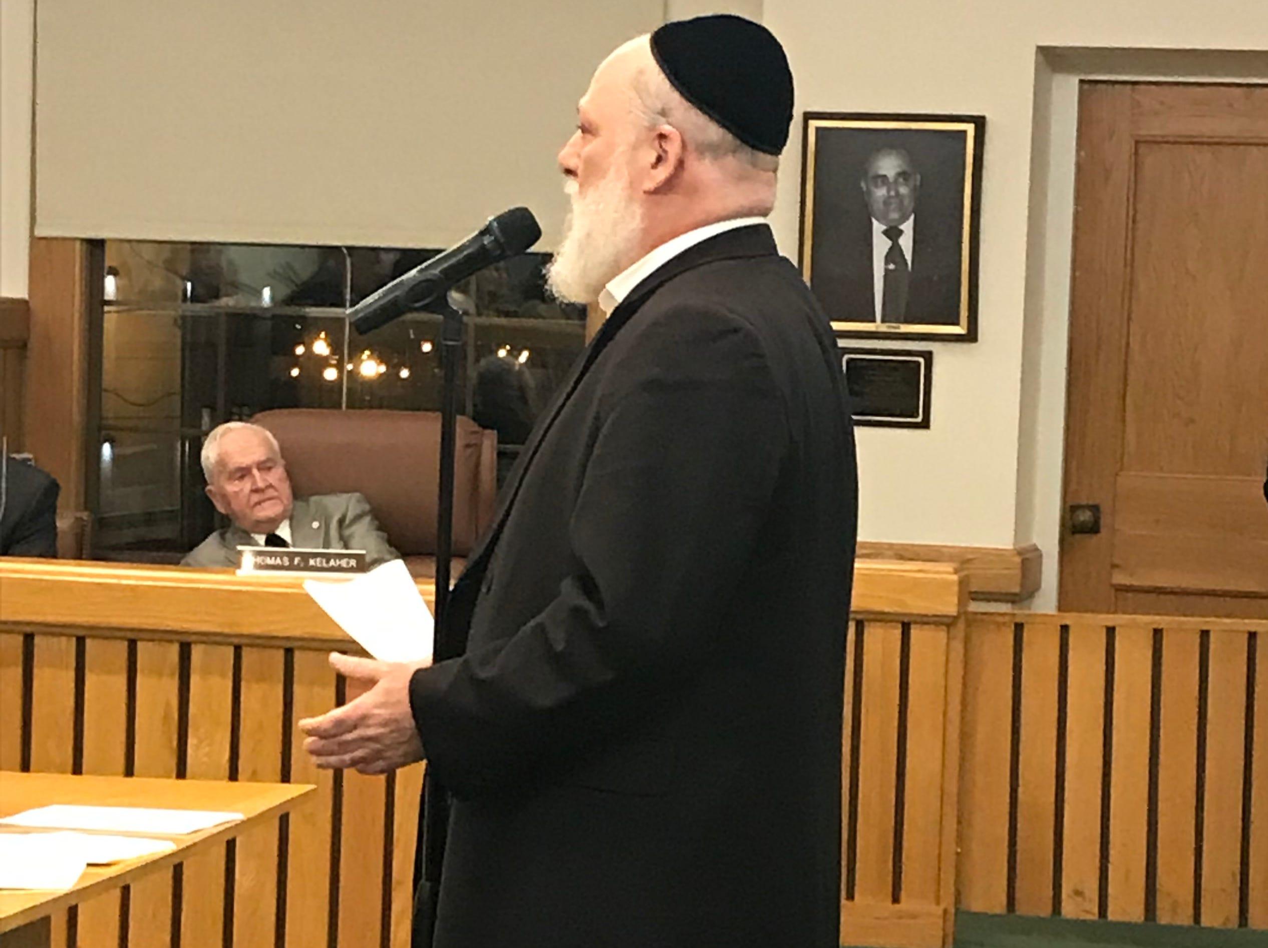 Toms River resident Scott Gartner speaks to the township council