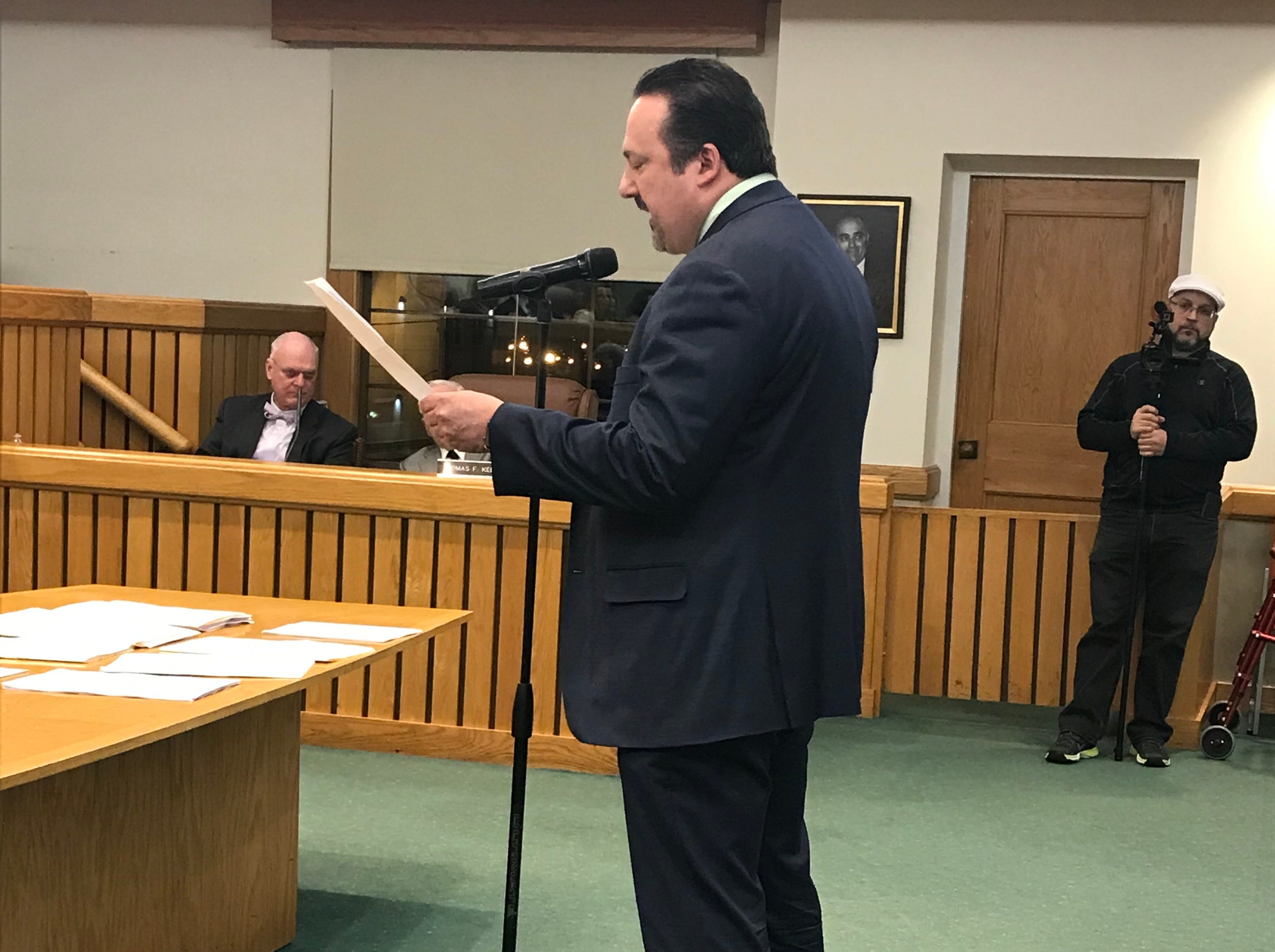 Philip Brilliant, president of Congregation B'nai Israel in Toms River, speaks to the Township Council