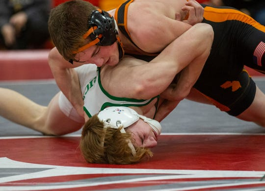 Middletown North's Tyler Klinsky (top) is the No. 2 seed at 106 pounds in the NJSIAA Individual Championships this weekend
