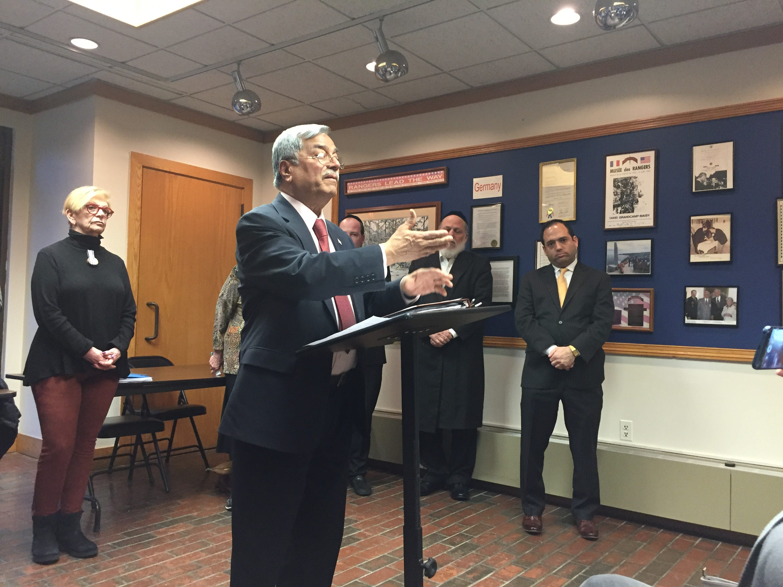 Mohammad Ali Chaudry speaks at a press conference where religious leaders called on the Toms River council to formally denounce Rise Up Ocean County