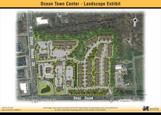 A rendering of Ocean Town Center on Deal Road in Ocean. The proposed townhomes are on the eastern border.