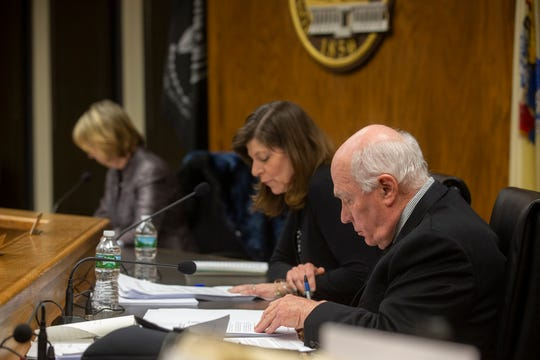 From left: Council President Andrea Zapcic, Councilwoman Lisa Crate and Councilman Arthur Halloran consider an ordinance to ban recreational marijuana sales at a February meeting. The Council unanimously voted on Tuesday to block such sales, should New Jersey legislators legalize recreational use.
