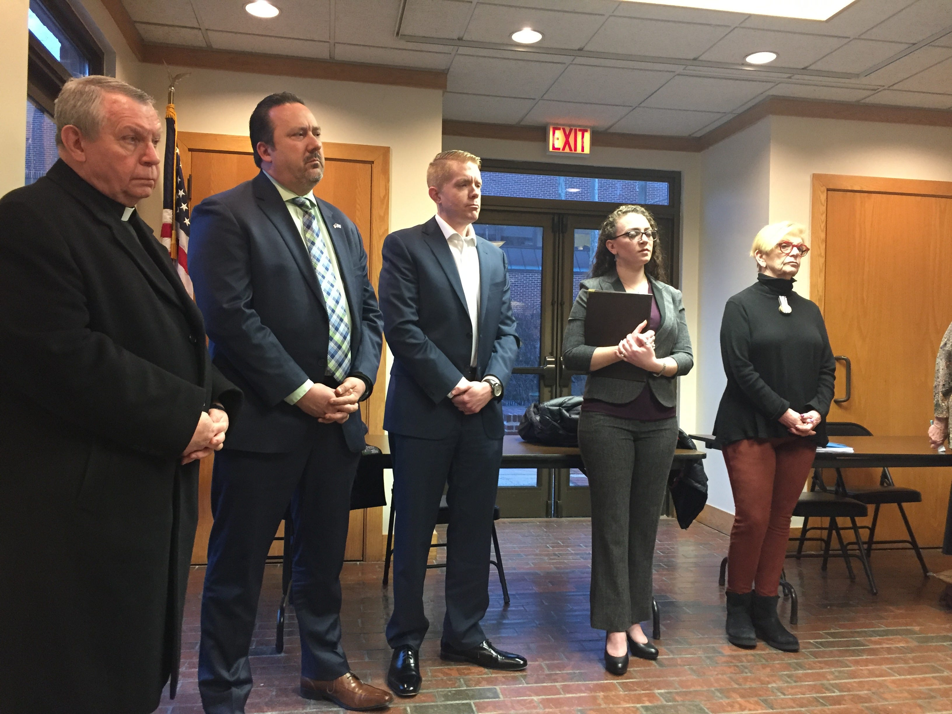 Religious leaders and advocates at Toms River press conference before the council meeting