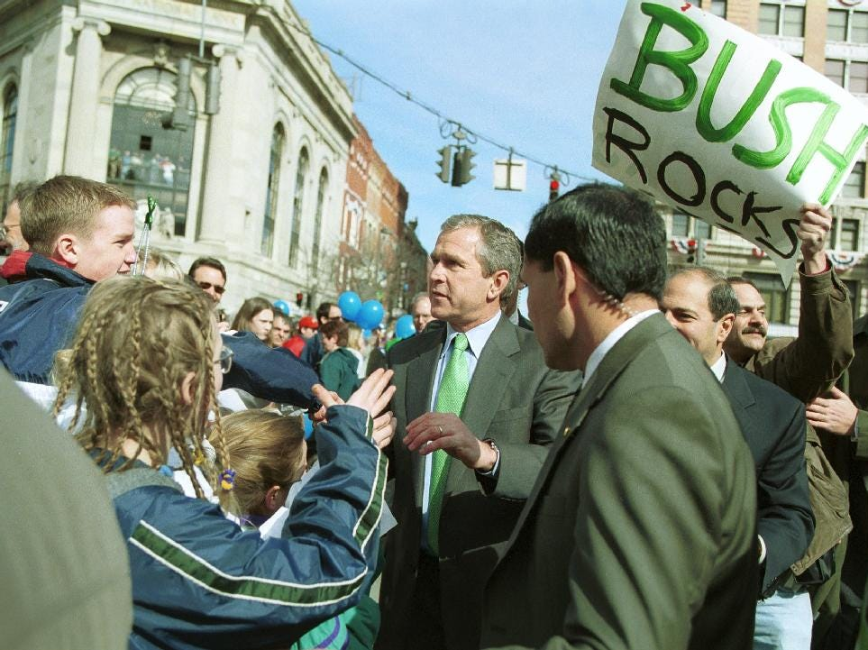 2000: Presidential Candidate George W. Bush at the annual St.Patrick's Day parade in Binghamton on March 4, 2000.