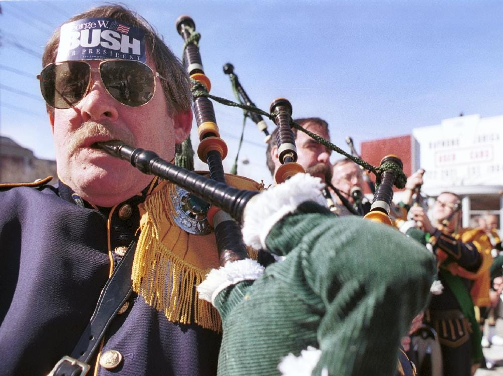 2000: Supporters of Presidential Candidate George W. Bush at the annual St.Patrick's Day parade in Binghamton on March 4, 2000.