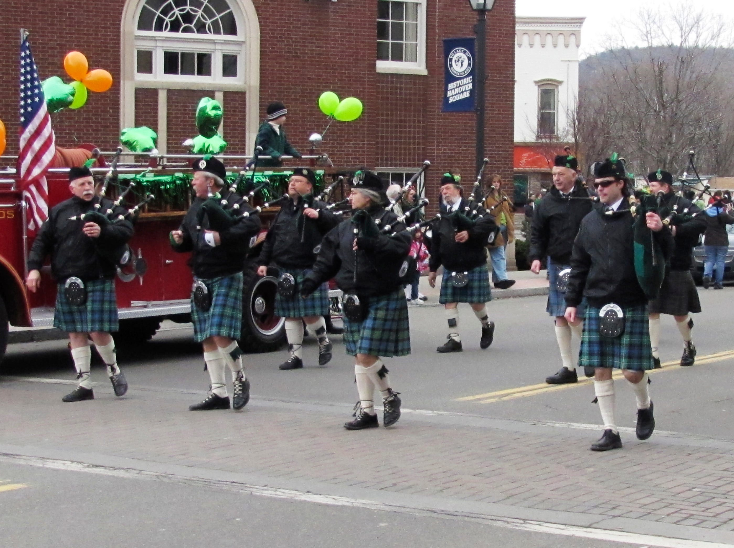 2011: Members of the Finger Lakes Pipe Band march through Hanover Square in Horseheads on Sunday during the annual St. Patrick's Day parade.